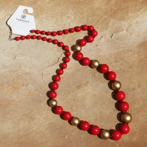 New! Long Chunky Boho Red Gold Statement Necklace